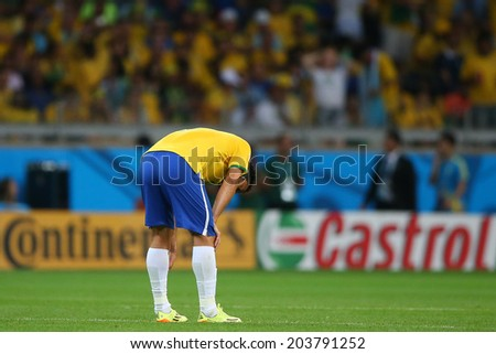 BELO HORIZONTE, BRAZIL - July 8, 2014: Fred of Brazil devastated during the 2014 World Cup Semi-finals game against Germany at Mineirao Stadium. NO USE IN BRAZIL.
