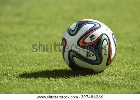 BELO HORIZONTE, BRAZIL - June 17, 2014: Ball Brazuca during the World Cup Group H game between Belgium and Algeria at Mineirao Stadium.  - stock photo