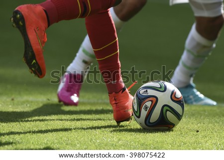 BELO HORIZONTE, BRAZIL - June 17, 2014: Ball during the World Cup Group H game between Belgium and Algeria at Mineirao Stadium. - stock photo
