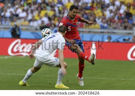 BELO HORIZONTE, BRAZIL - June 24, 2014: Celso BORGES of Costa Rica and James MILNER of England compete for the ball during the World Cup Group D game between Costa Rica and England at Estadio Mineirao