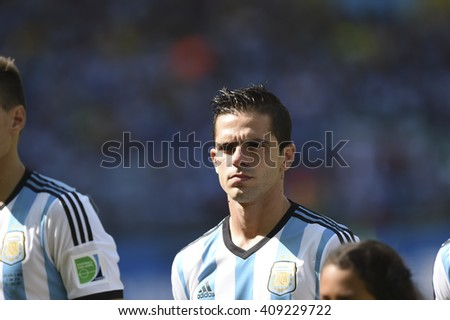 Belo Horizonte, Brazil - June 21, 2014: Fernando GAGO da Argentina during the FIFA 2014 World Cup. Argentina is facing Iran in the Group F at Minerao Stadium
