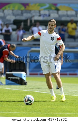 BELO HORIZONTE, BRAZIL - June 24, 2014: Jordan HENDERSON  during the FIFA 2014 World Cup. Costa Rica is facing England in the Group D at Minerao Stadium