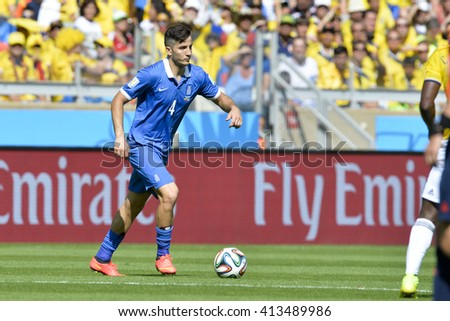BELO HORIZONTE, BRAZIL - June 14, 2014: Konstantinos MANOLAS of Greece  during the 2014 World Cup. Colombia is facing Greece in the Group C at Minerao Stadium