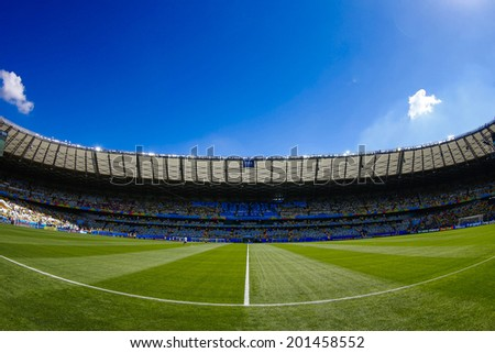 BELO HORIZONTE, BRAZIL - June 28, 2014: Mineirao Stadium where Brazil is facing Chile in the Round of 16 during the FIFA 2014 World Cup. No Use in Brazil. - stock photo