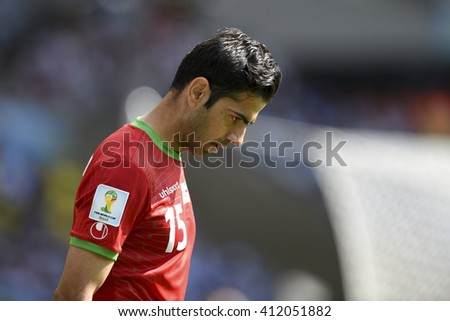 Belo Horizonte, Brazil - June 21, 2014: Pejman MONTAZERI of Iran during the FIFA 2014 World Cup. Argentina is facing Iran in the Group F at Minerao Stadium