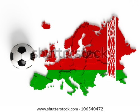 Belorussian flag on European map with national borders, isolated on white background