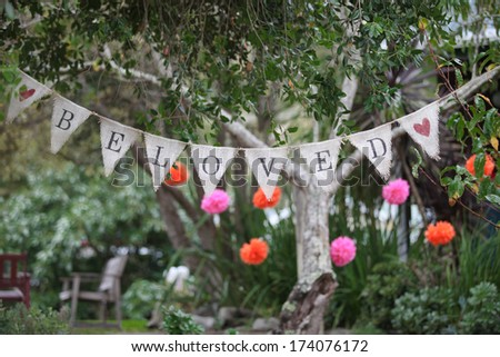 Beloved hanging sign. - stock photo