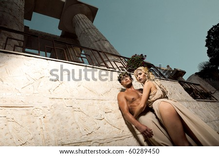 beloved pair In ancient times - stock photo