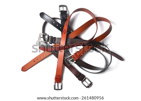 belt, belts, brown and black belts, leather  - stock photo