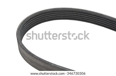 belt car engine isolated white background.Automobile spare part - stock photo