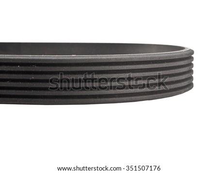 belt car engine isolated white background. Automobile spare part - stock photo