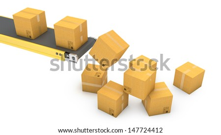Belt conveyor with falling carton boxes isolated on white background