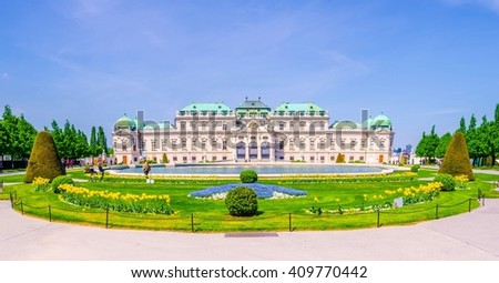 Belvedere Palace in cloudy day before rain. Vienna, Austria - stock photo