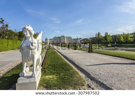 Belvedere Palace in summer, Vienna, Austria - stock photo