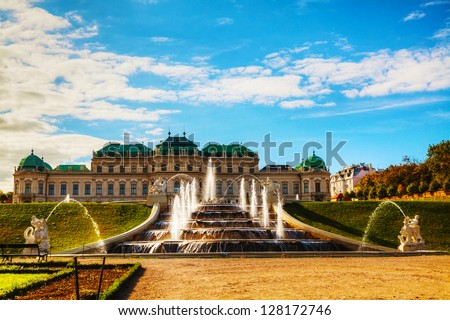 Belvedere palace in Vienna, Austria on a sunny day - stock photo