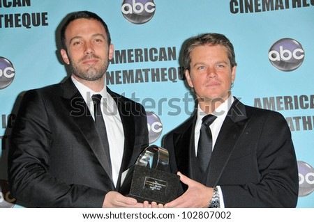 Ben Affleck and Matt Damon at the 24th Annual American Cinematheque Award Ceremony Honoring Matt Damon, Beverly Hilton hotel, Beverly Hills, CA. 03-27-10 - stock photo
