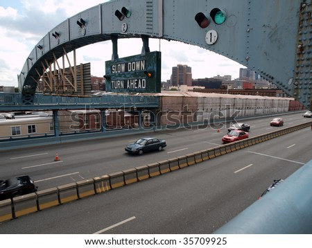 Ben Franklin bridge in historic Philadelphia Pennsylvania. - stock photo