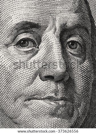 Ben Franklin face on us 100 dollar bill close up macro, united states money closeup - stock photo