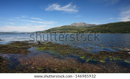 Ben Nevis, Fort William and Loch Linnhe in July.