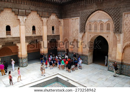 Ben Youssef Madrasa, Marrakech, Morocco - April 15, 2015: Founded by the Merenid Sultan Abou el Hassan in the 14th century. Madrasa is equipped with 132 rooms. - stock photo
