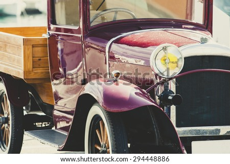 BENALMADENA, SPAIN - June 21: Classic Car parked at Puerto Marina port on June 21, 2015. Benalmadena's port is one of the most famous leisure ports in Costa del Sol, Andalusia. - stock photo