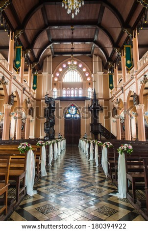 bench and Interior of a christian church,Public place - stock photo