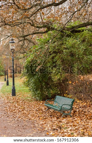 Bench and lighting lanterns in a park in autumn.
