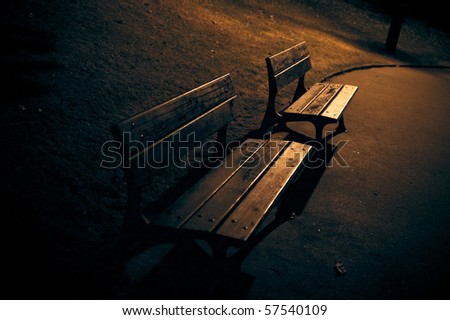 bench at night street - stock photo