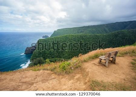Bench at Pololu Valley in Big Island, Hawaii - stock photo