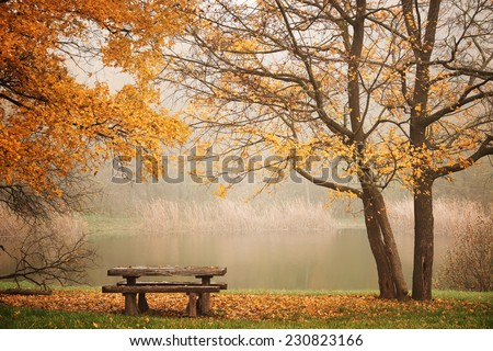 Bench autum park and lake - stock photo