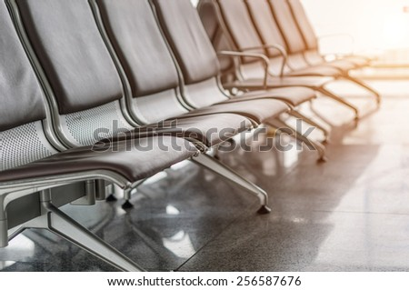 Bench in airport - stock photo