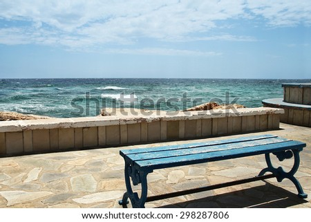 bench in nature by the sea
