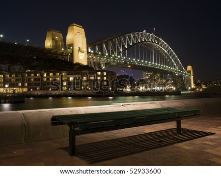 Bench in sydney harbour - stock photo