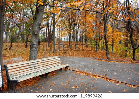 Bench in the autumn city park - stock photo