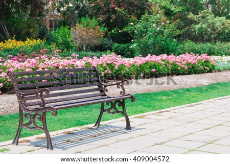 bench in the garden - stock photo