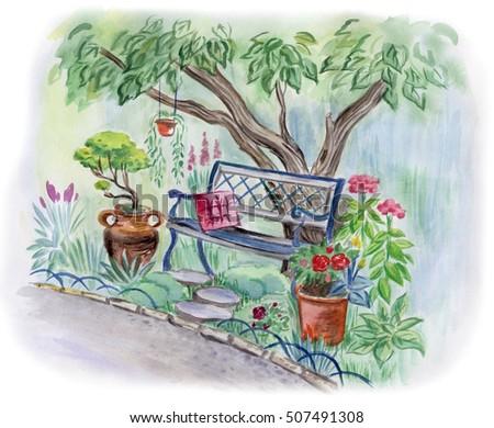 Bench Garden Under Tree Watercolor Landscape Stock ...