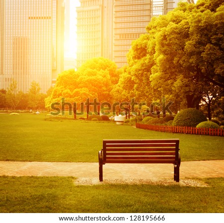 Bench in the park - stock photo