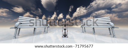 Bench in white landscape - stock photo
