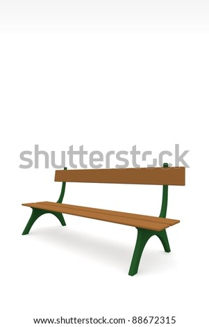 bench isolated on white - stock photo
