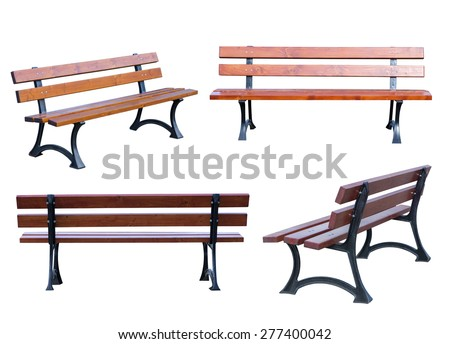 Bench isolated on white background - stock photo