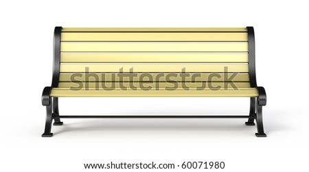 Bench isolated on white background - front view - stock photo