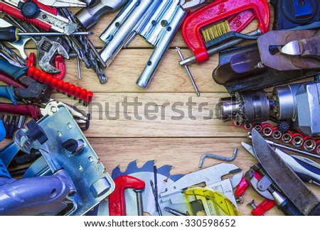 Bench Joiner's tools laid out in the form of a frame - stock photo