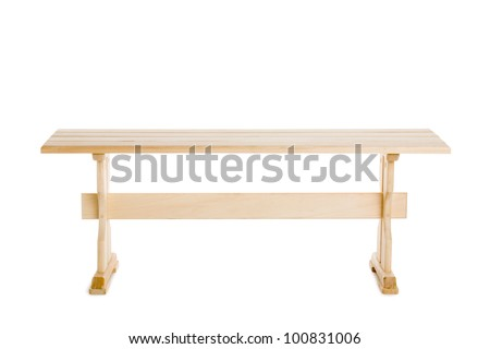 Bench made of natural wood isolated on white - stock photo