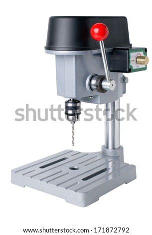 Bench-mounted drill press isolated on white background.