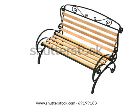 Bench of garden, isolated on a white ground - stock photo