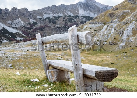 Bench on the background of National park Durmitor, Montenegro