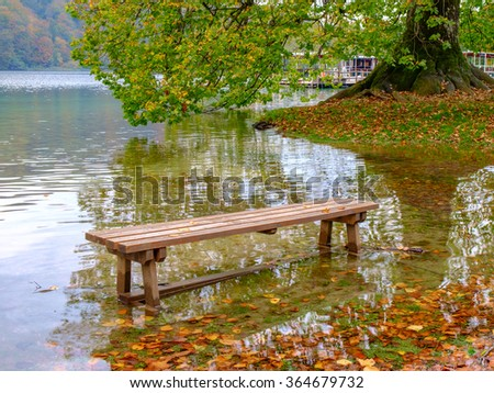 Bench on the lake, Plitvice lake in Croatia