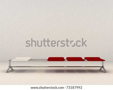 Bench with three red seats and one red one - 3d Illustration - stock photo