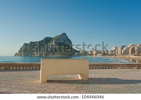 Bench with view on Calpe landmark Penon de Ifach