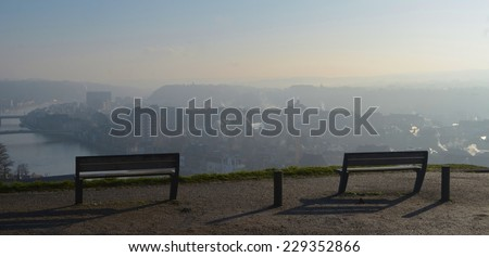 Benches situated on the top of citadel in namur. - stock photo